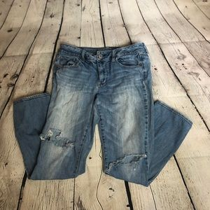 Distressed American Eagle Straight Jeans